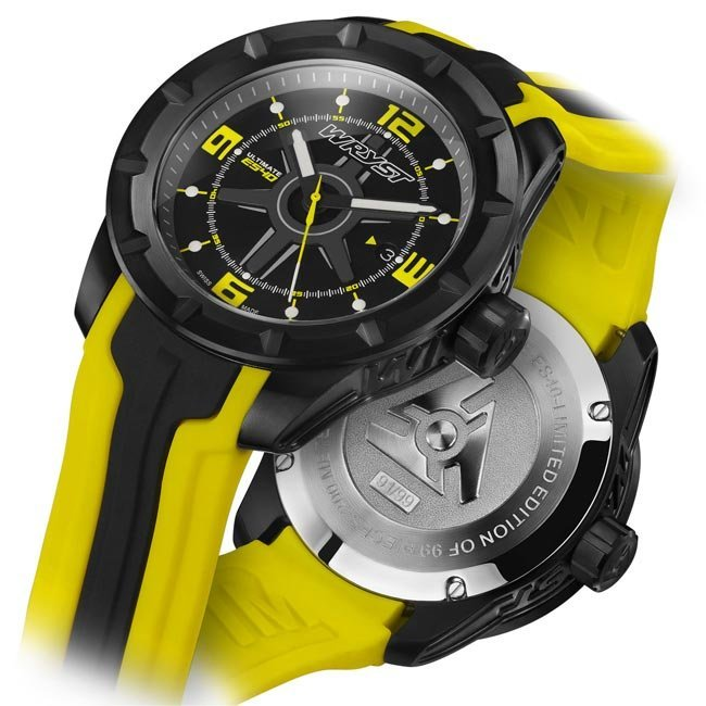 Black Swiss Watch With Yellow Details