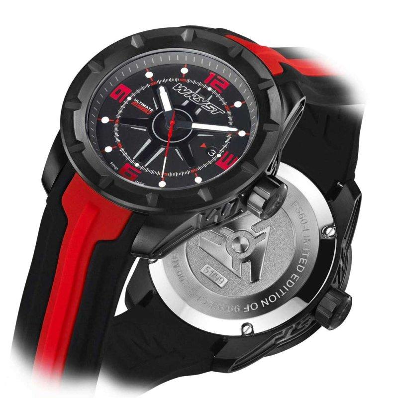 Schwarz und Rote Schweizer Sport-Uhr