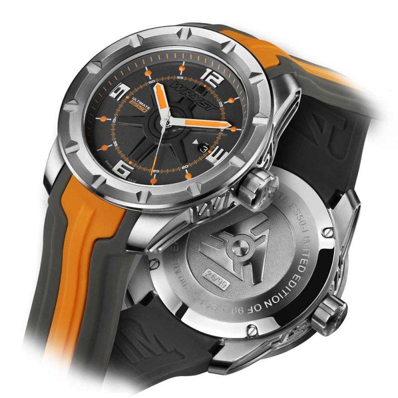 Reloj Deporte Suizo de Lujo Gris y Naranja