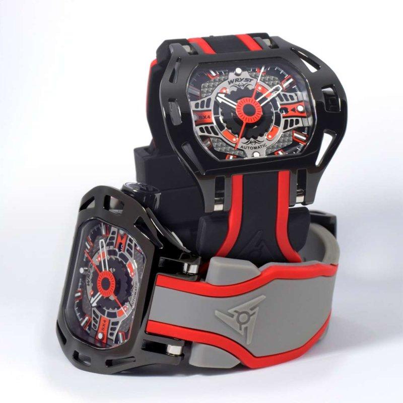 Negro y Rojo Reloj Automático Suizo
