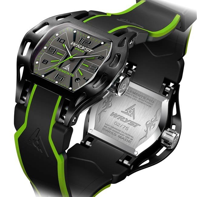 Wryst black and green Swiss watch