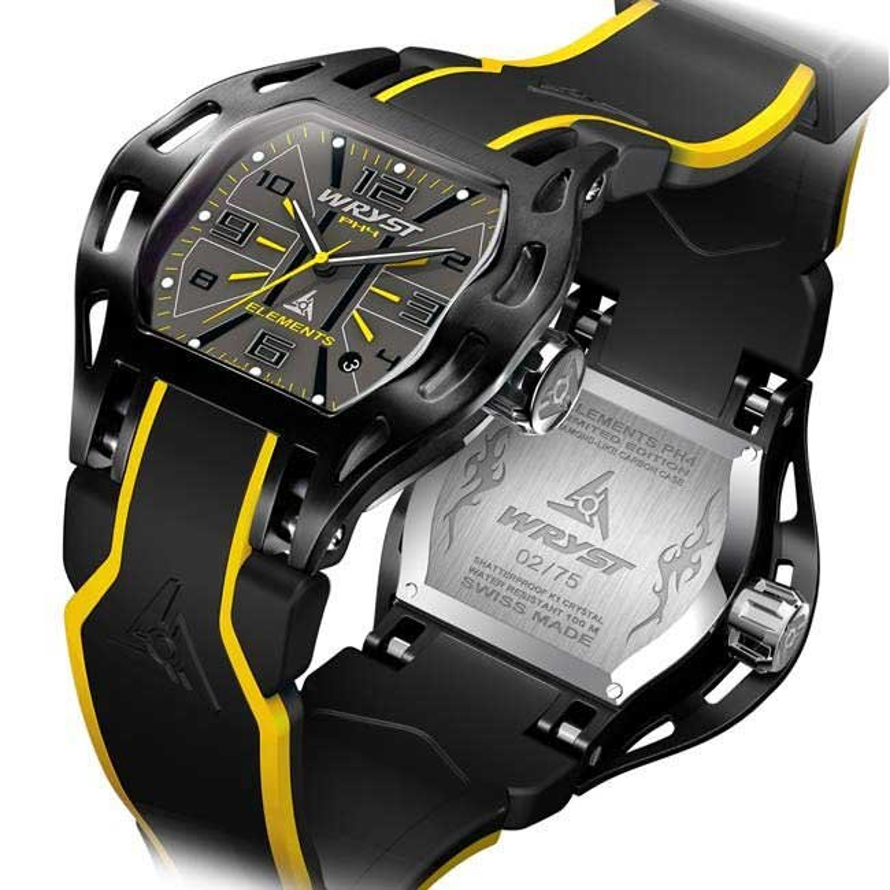 Reloj Amarillo y Negro Suizos para los Hombres