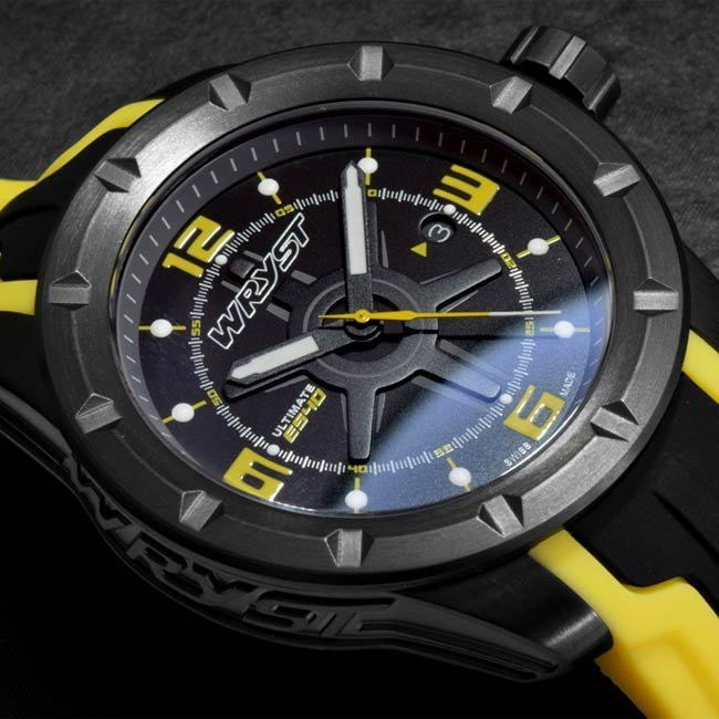 Extreme sports black Swiss watch with black and yellow strap