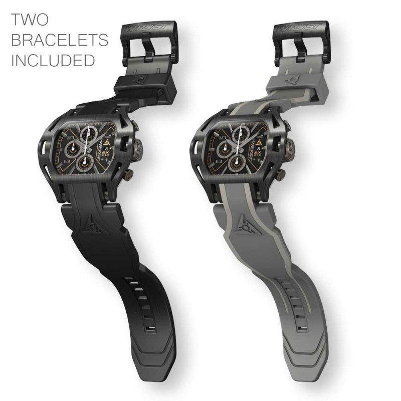 Montre Noire Deux Bracelets Inclus