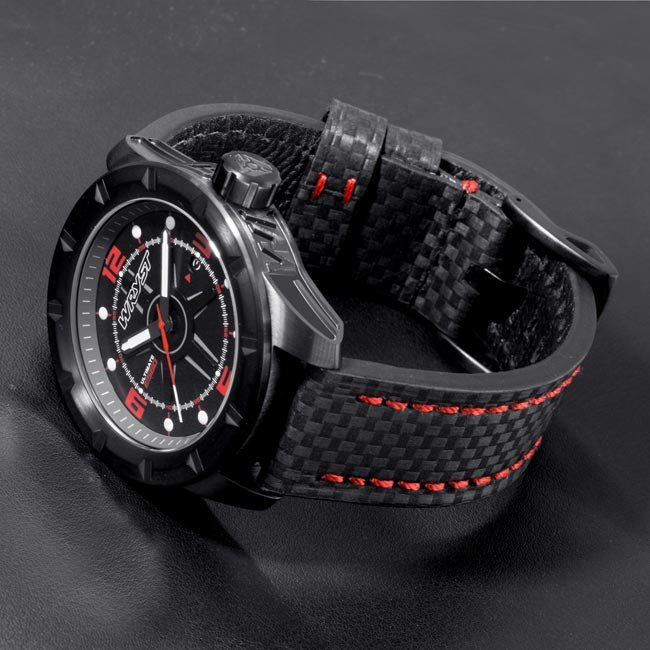 Black watch carbon fiber bracelet with red stitches