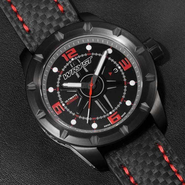 Black and red carbon fiber watch bracelet