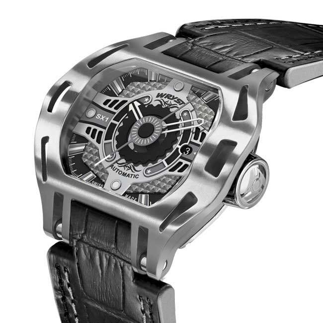 Stainless Steel Watch with Black Leather Bracelet