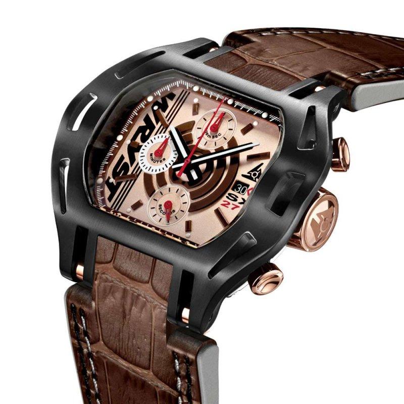 Reloj negro para hombre con pulsera de cuero marrón