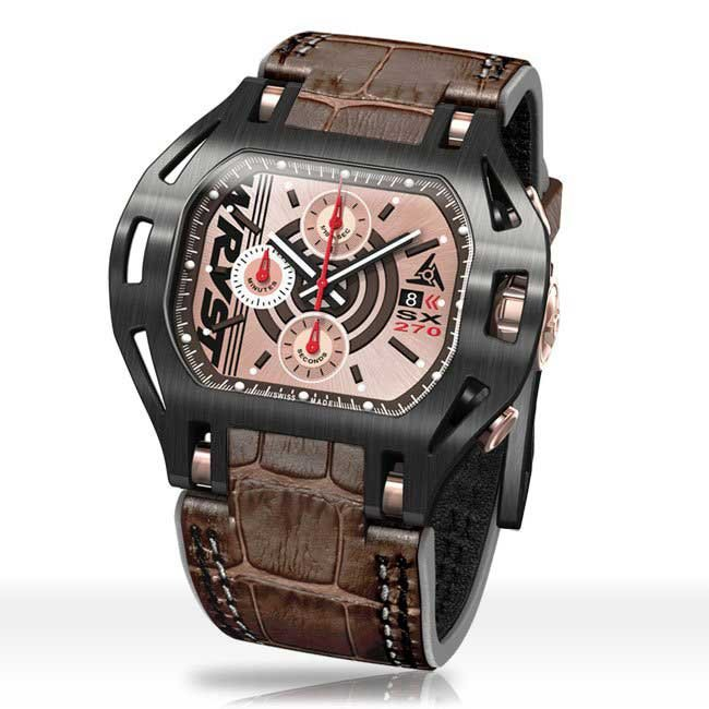 Swiss Mens brown leather watch black and rose gold face