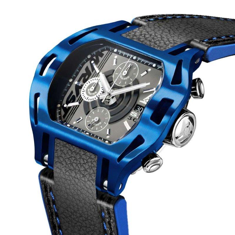 Blaue Uhr mit schwarzem Lederarmband