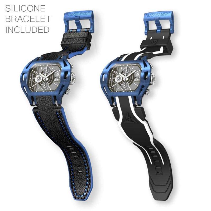 Blaue und schwarze Uhr mit schwarzem Lederarmband