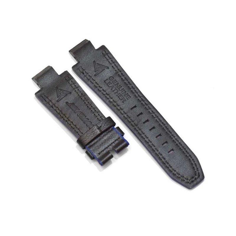 Bracelet Cuir Noir et Bleu pour Montres Suisses Wryst