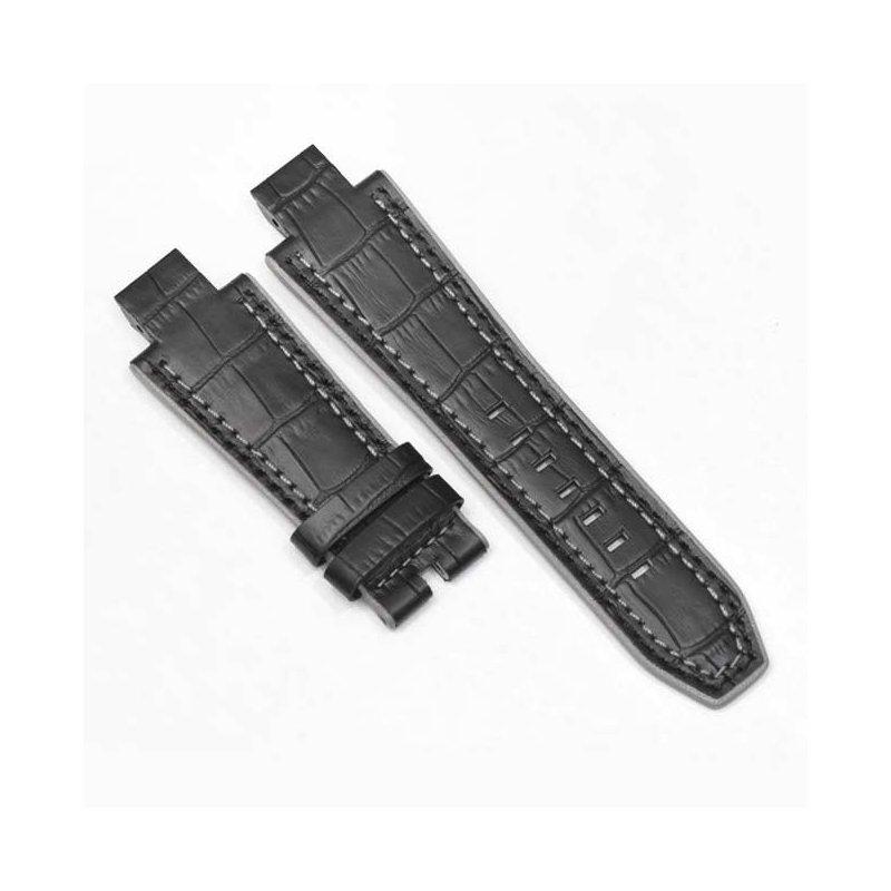 Bracelet Cuir Alligator Noir NX5