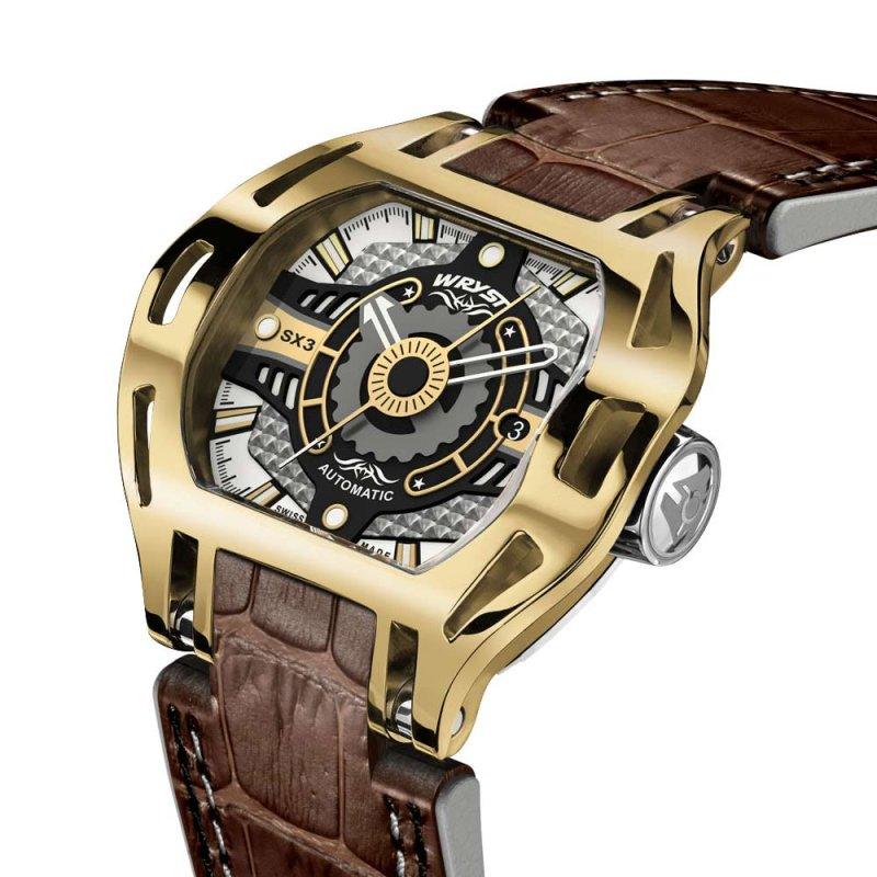 Goldene Uhr mit braunem Alligator-Armband