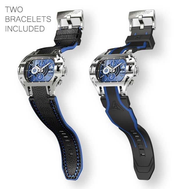 Stainless steel blue face watch with black and blue leather bracelet