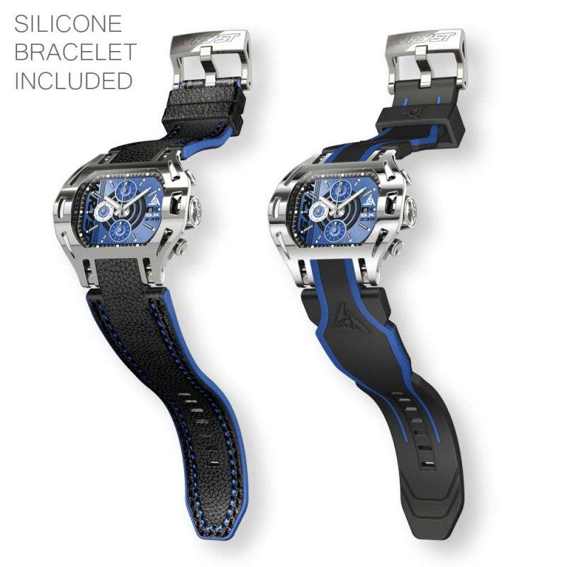 Reloj de acero inoxidable con esfera azul con brazalete de cuero negro y azul