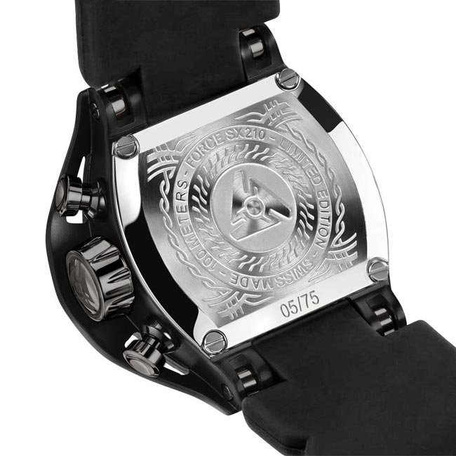 Limited Edition Black Leather Watch SX210 for Mens