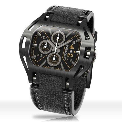 Schwarze Leder uhr SX210