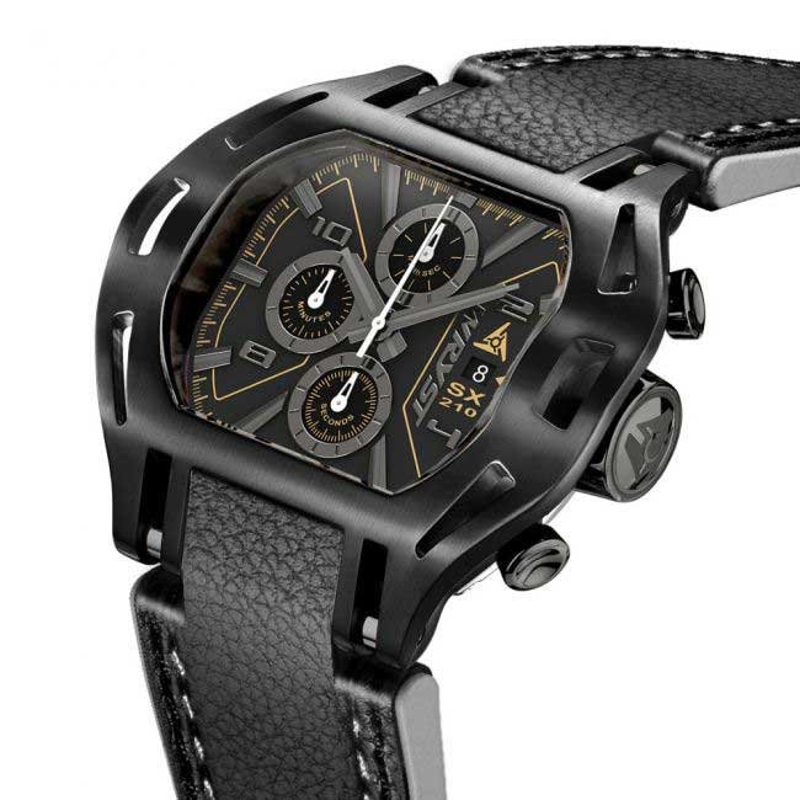 Wryst Schwarze Leder Uhr Force SX210
