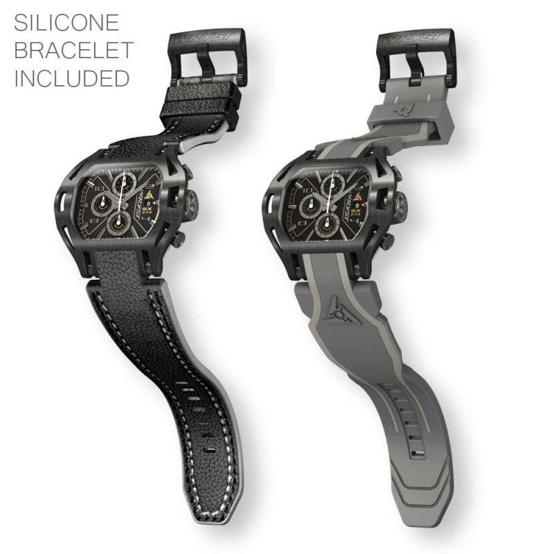 Relojes suizos de cuero negro Wryst Force para hombres