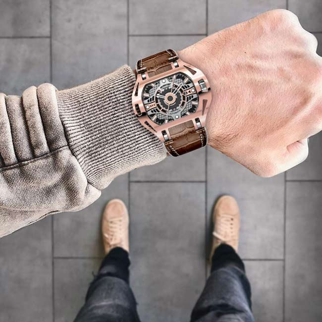 Automatische Luxus Rose Gold Watch Brown Leather