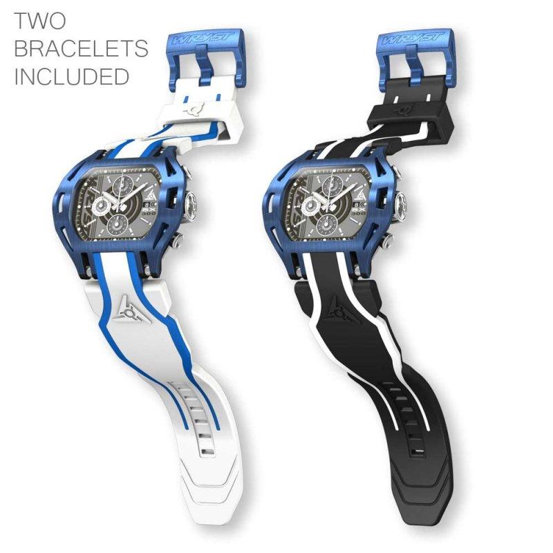 Reloj suizo azul con correa blanca para hombre