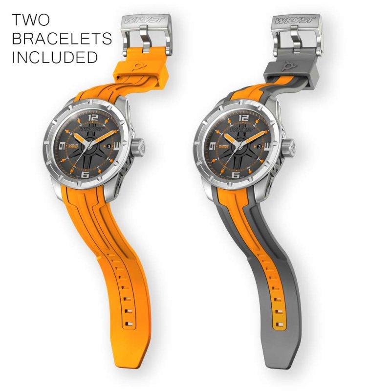 Montre orange en acier inoxydable pour homme