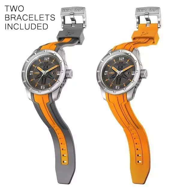 Stainless Steel Orange Watch for Men