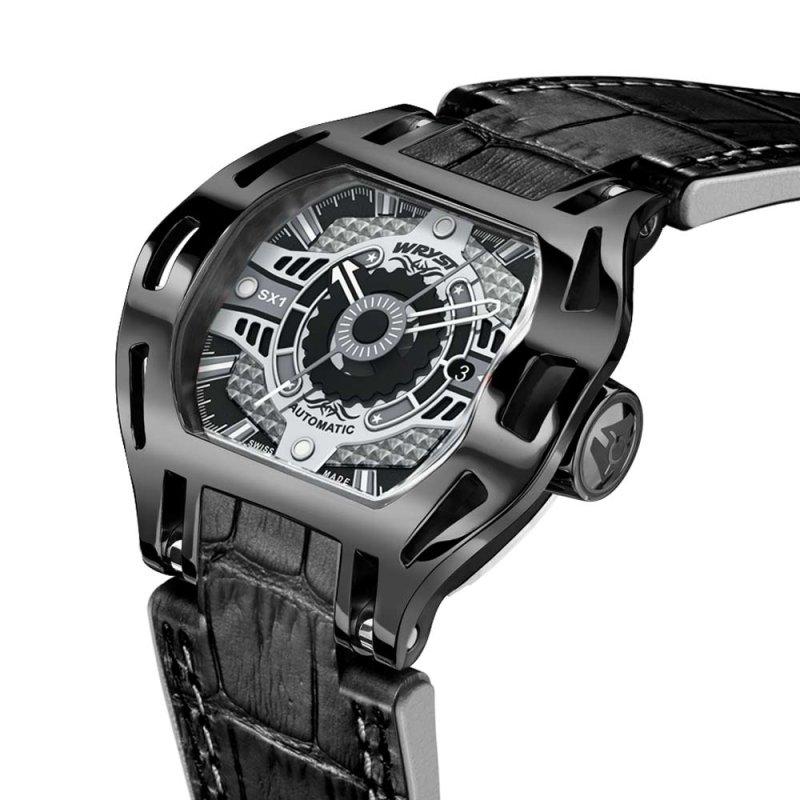 Schwarze mechanische Uhr Racer SX1
