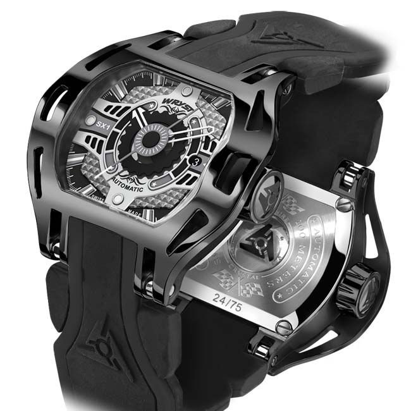 Reloj mecánico suizo negro DLC
