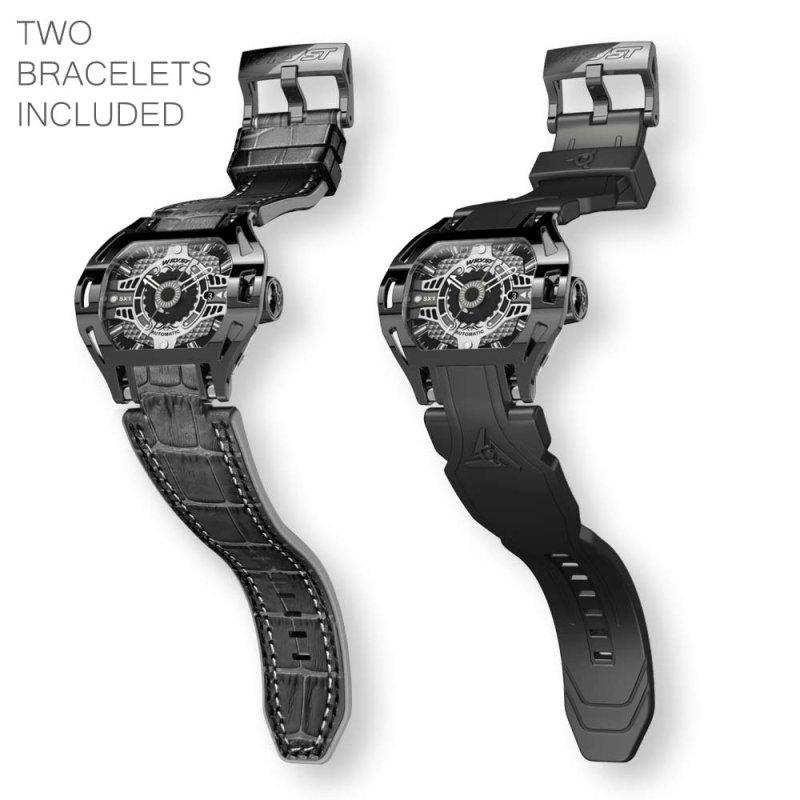Reloj mecánico de cuero negro SX1