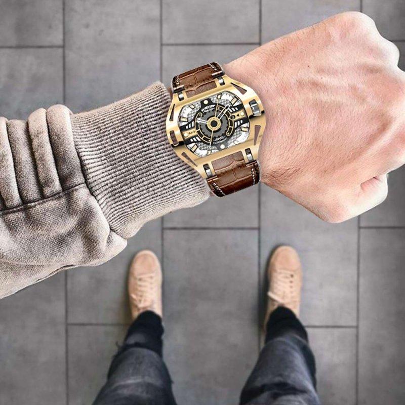 Montre de luxe en or avec bracelet en cuir Wryst SX3