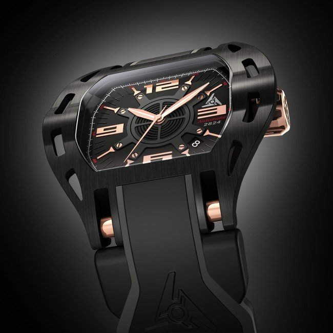 ETA automatic sport watch with date - black & pink gold