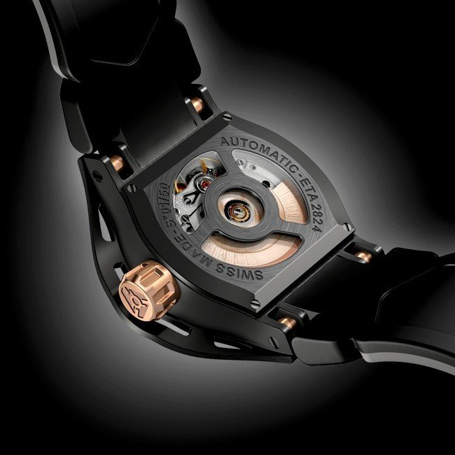 Automatic Black Uhr der Skeleton Fall-Rückseite Swiss Made ETA