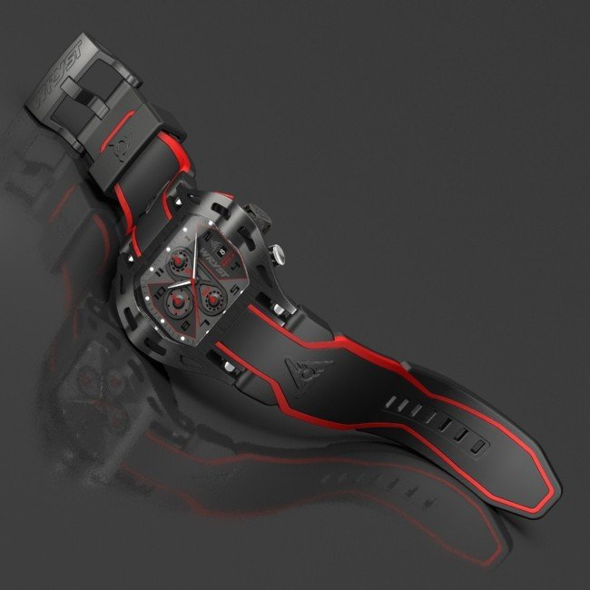 black and red luxury swiss sport watch