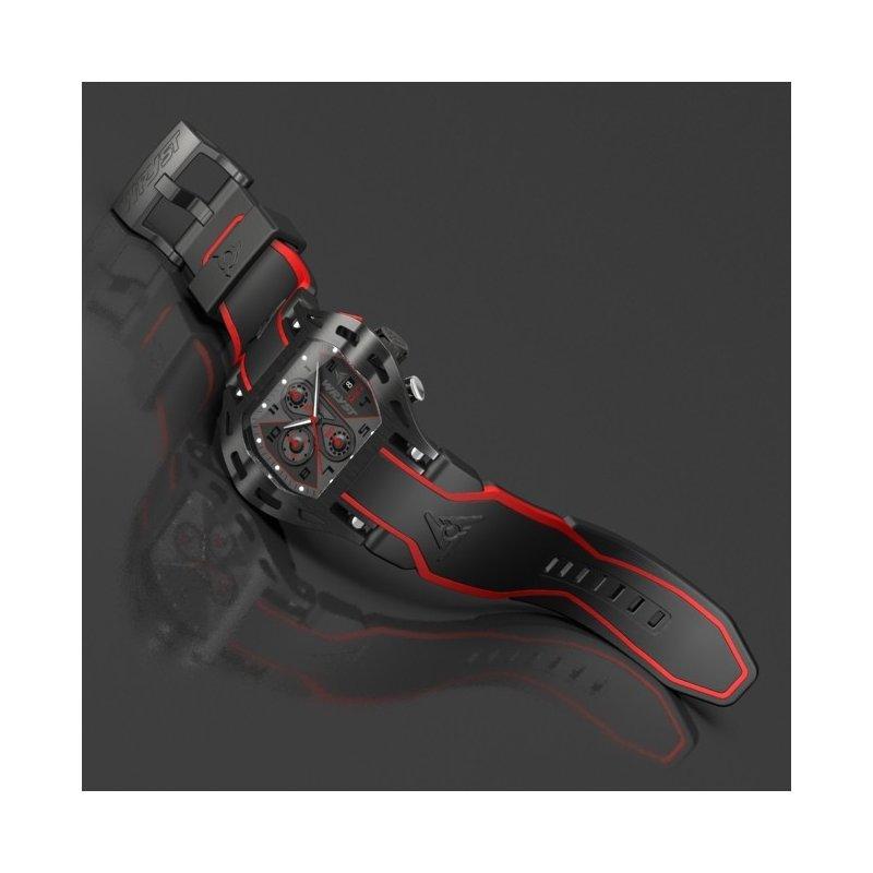 schwarze und rote Schweizer Luxus Sportuhr