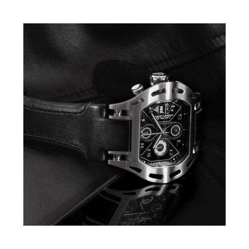 Los hombres de acero inoxidable reloj del deporte con correa de cuero