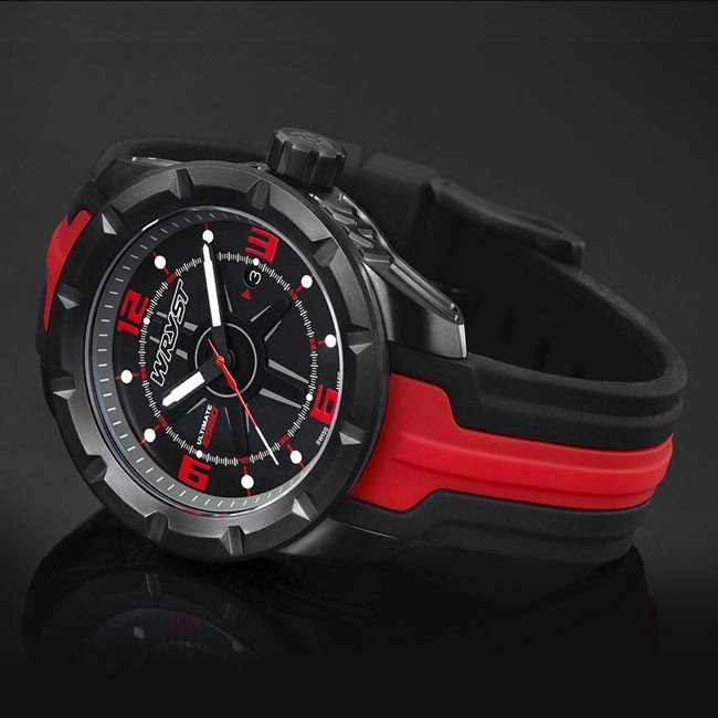 Black and Red Watch Sapphire Crystal
