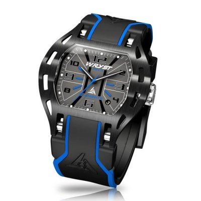 Black and blue sports watch