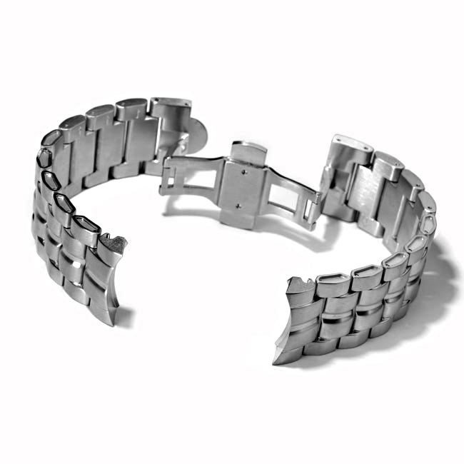 Metal Watch Bracelet with Deploying Clasp