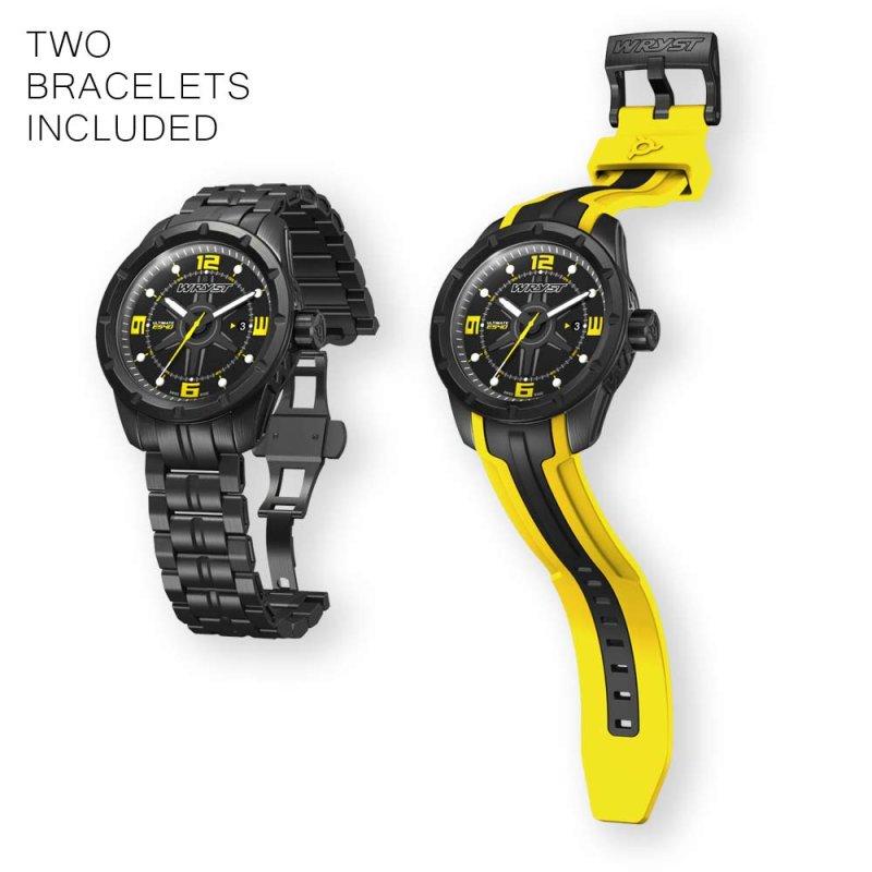 Schwarze und Gelbe Schweizer Uhr