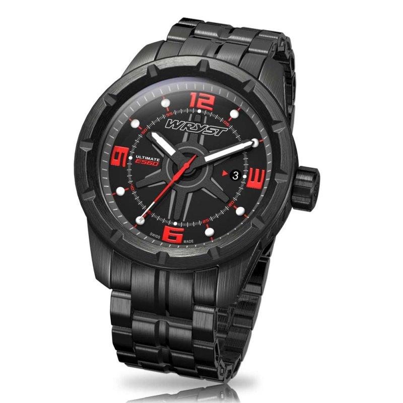 Metallschwarze Schweizer Uhr