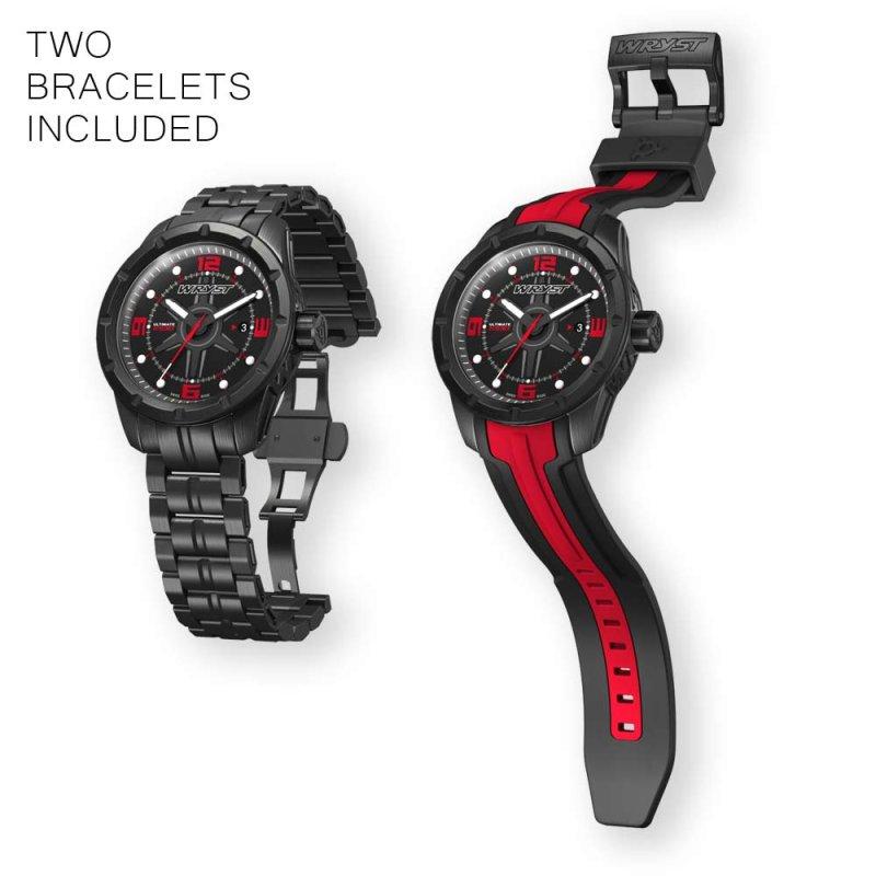 Schwarze und rote Schweizer Sportuhr