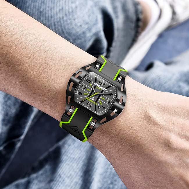 Mens black Wryst watch with green accents