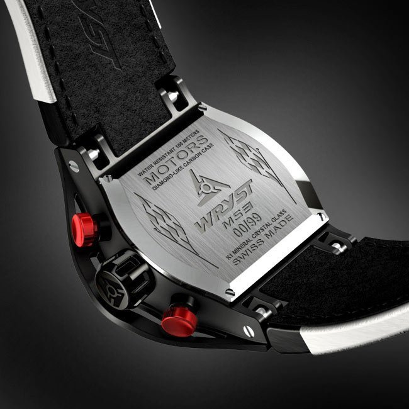 Negro reloj suizo con fibra de carbono MS3