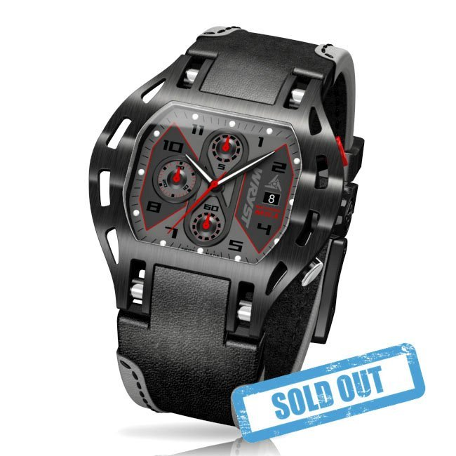 Black Racing Sport Watch with Black Leather Strap
