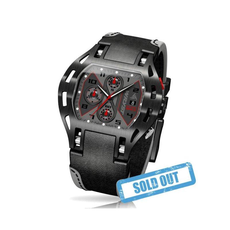 Negro del reloj del deporte y correa de piel - Wryst Motors MS1