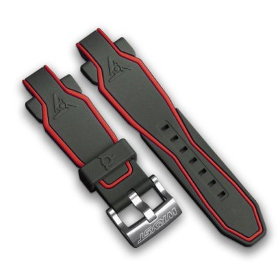 Black Red Silicone Watch Strap