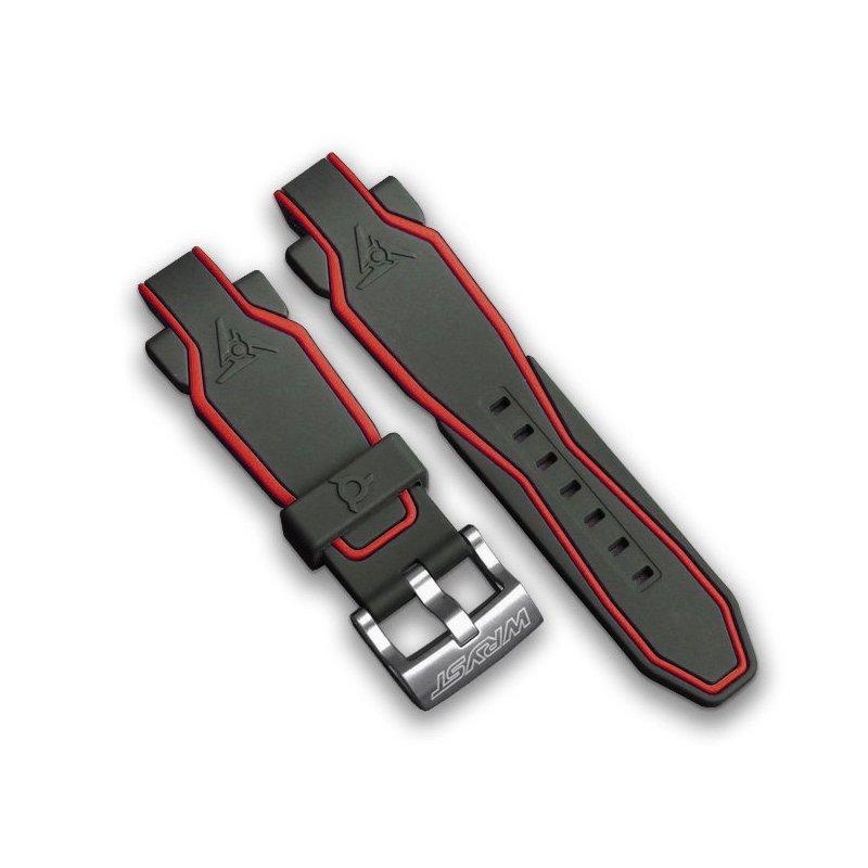 Correa de reloj de silicona negro rojo
