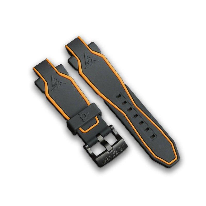 Bracelet Silicone Noir et orange